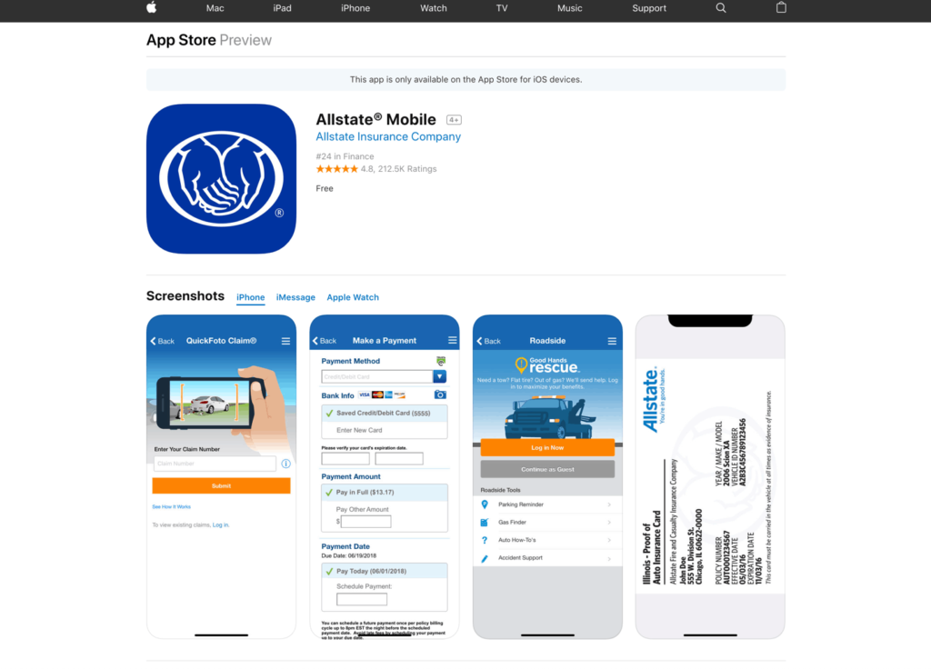 Allstate mobile app Apple store