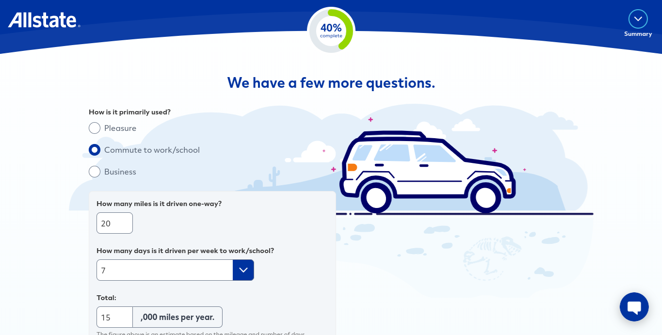 Allstate online quote form commute