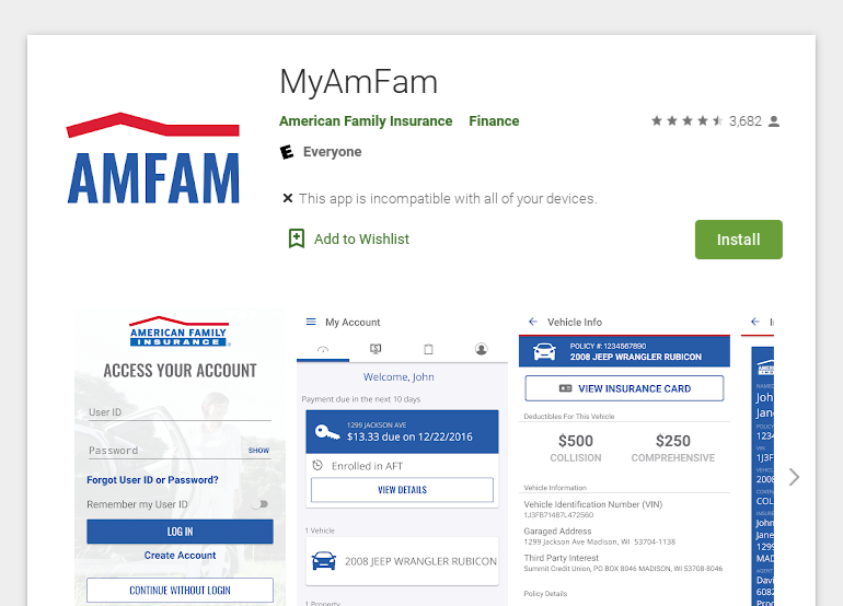 American Family Auto Insurance app policy information