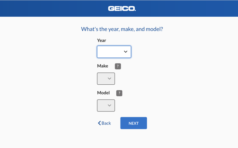 Step 3: Geico Quote - vehicle info