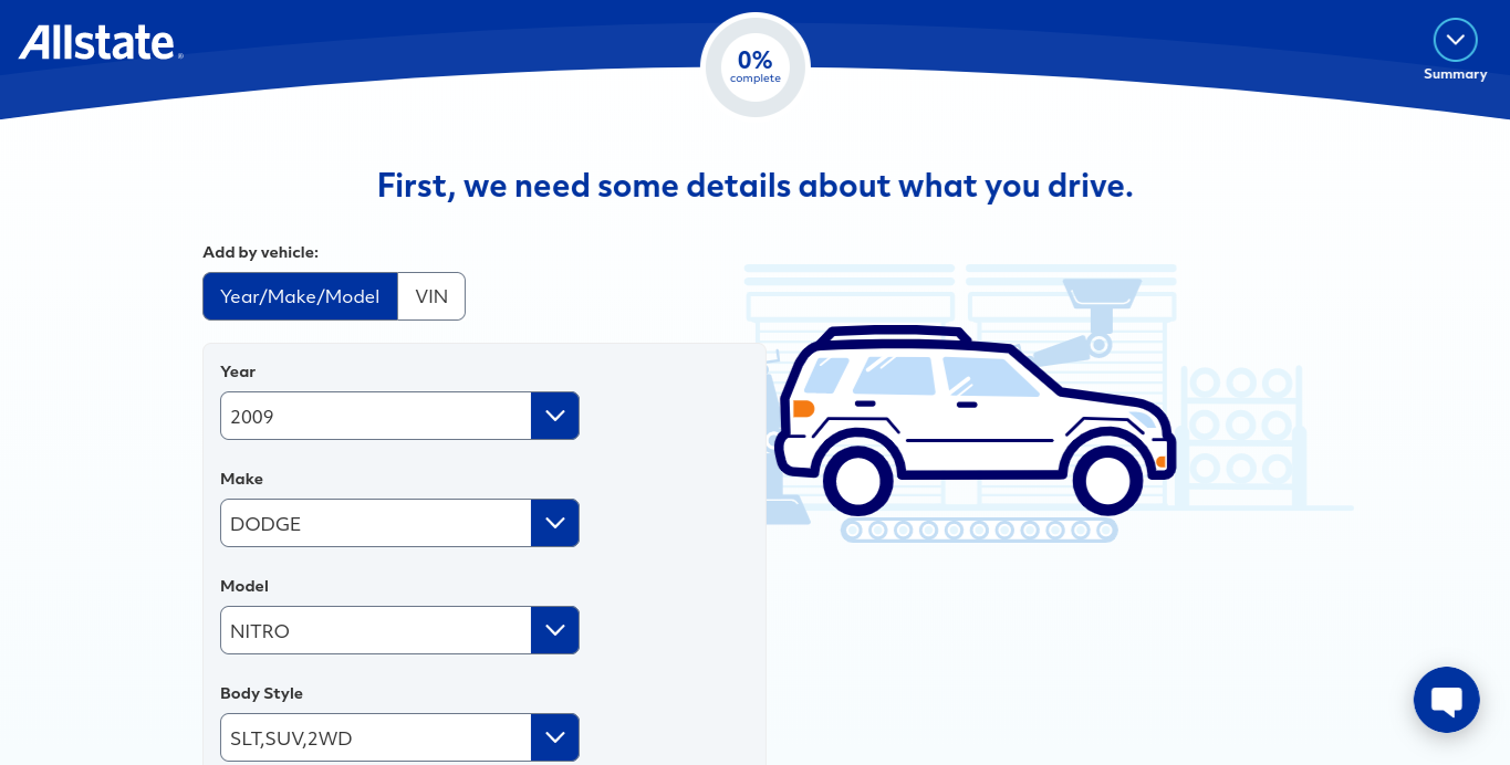 Allstate online quote form vehicle details