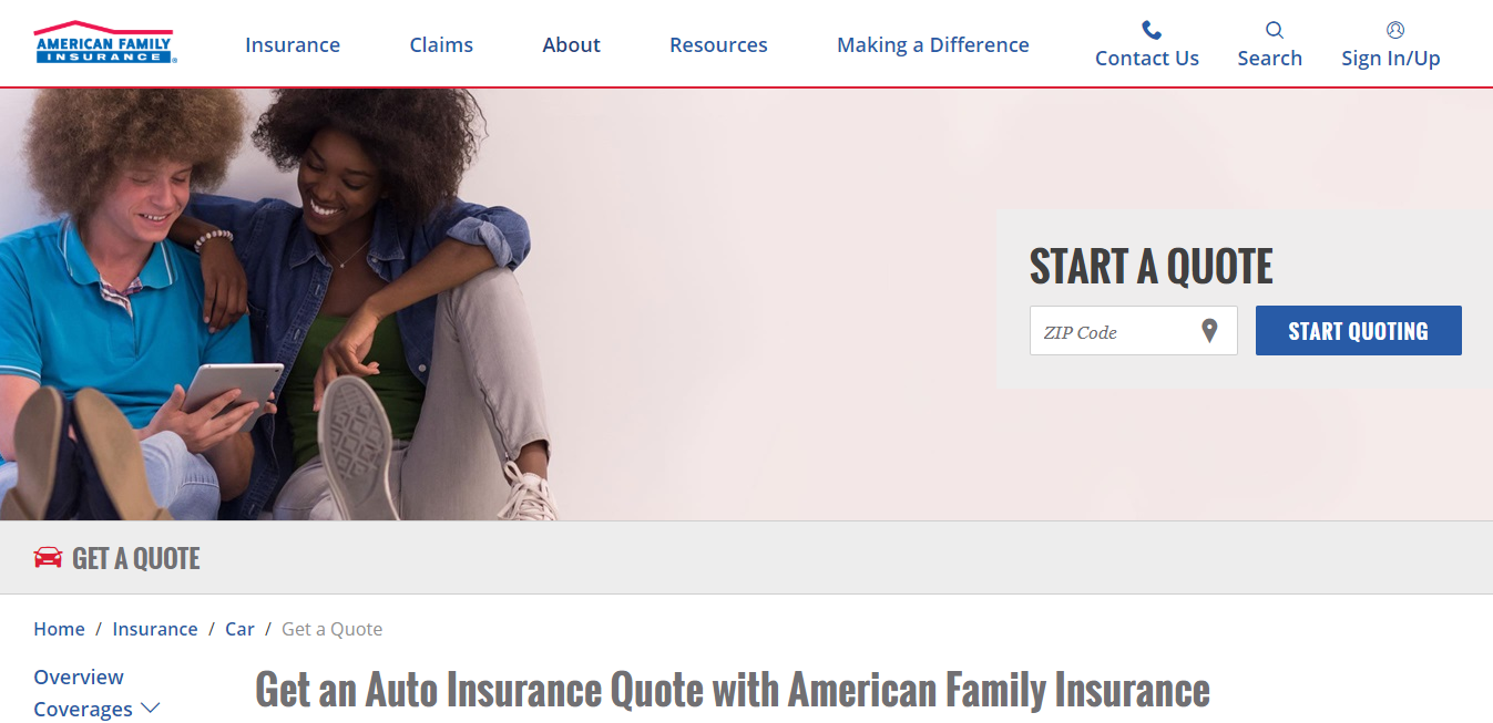 Start American Family Auto Insurance quote