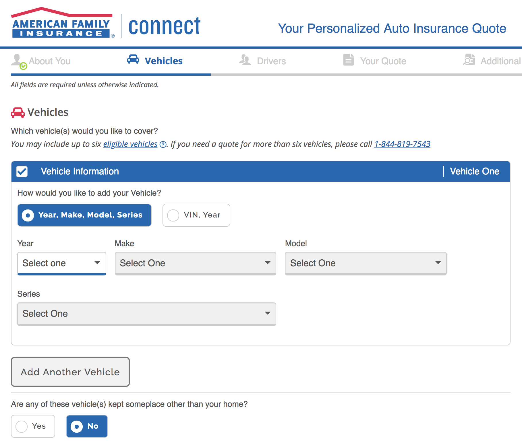 American Family Auto Insurance enter vehicle information
