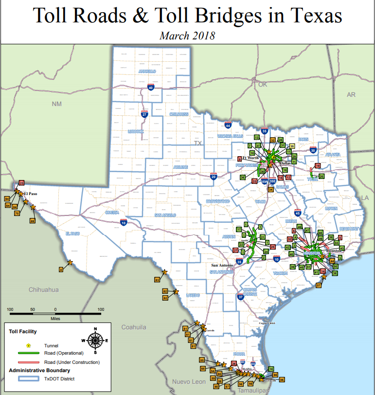Map of Toll Roads in Texas