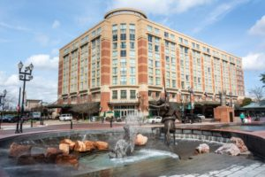 Sugar Land, Texas with fountain and sculptures in town square