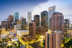 Downtown skyline of Houston, Texas with city lights