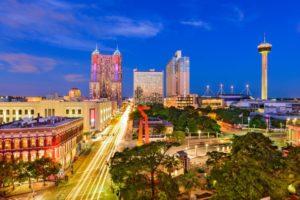 Skyline of San Antonio, Texas with city lights and blue sky