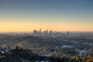 The City of Los Angeles at dawn.