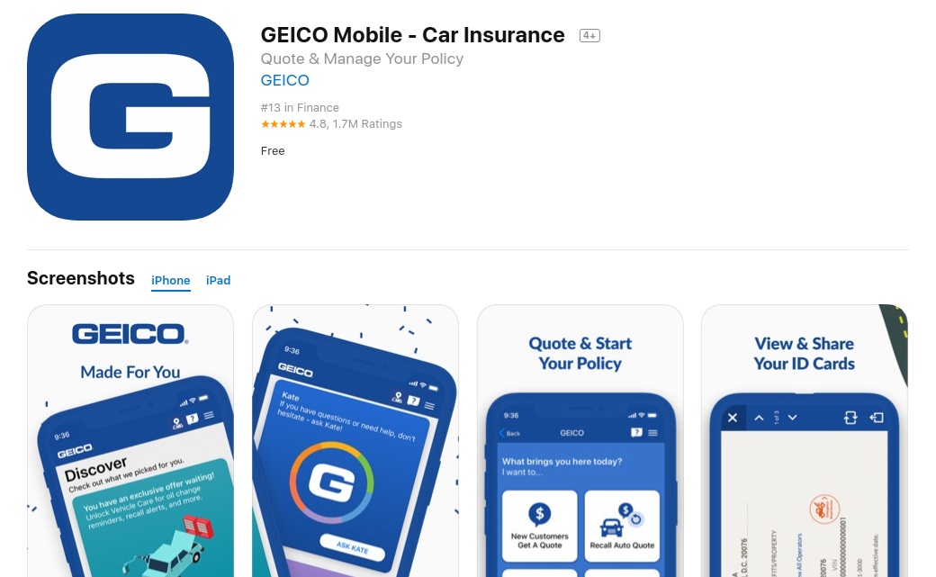 Geico car insurance quote iPhone app