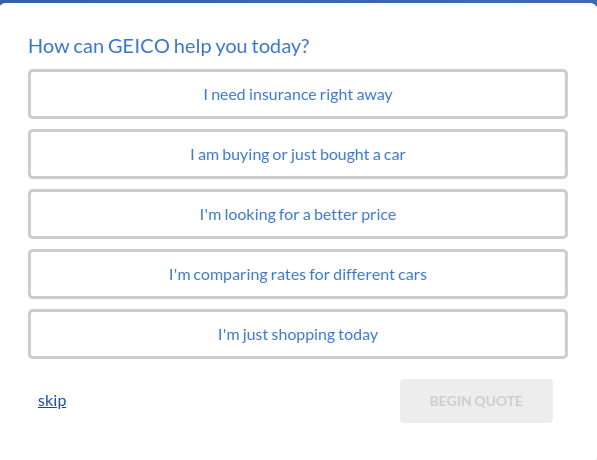 Geico car insurance quote getting started