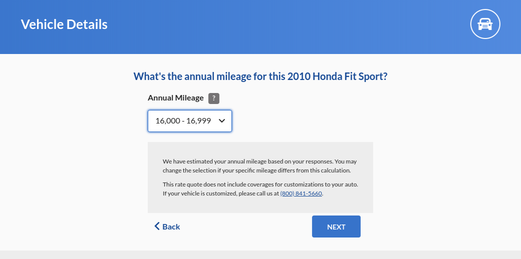 Geico car insurance quote annual mileage