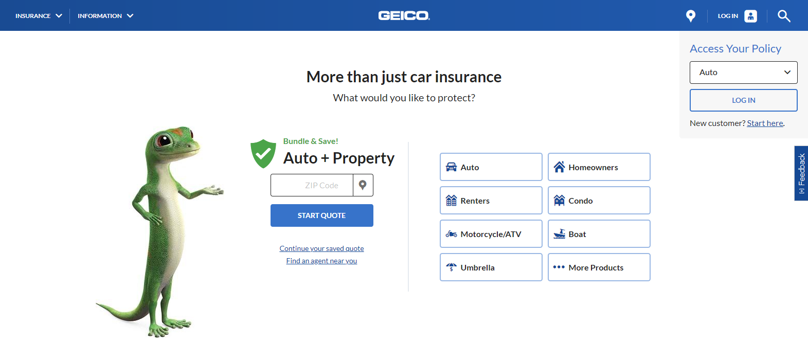 Geico car insurance quote account page