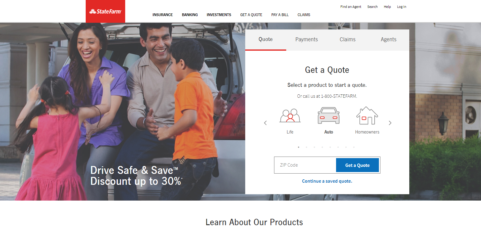 State Farm website home page