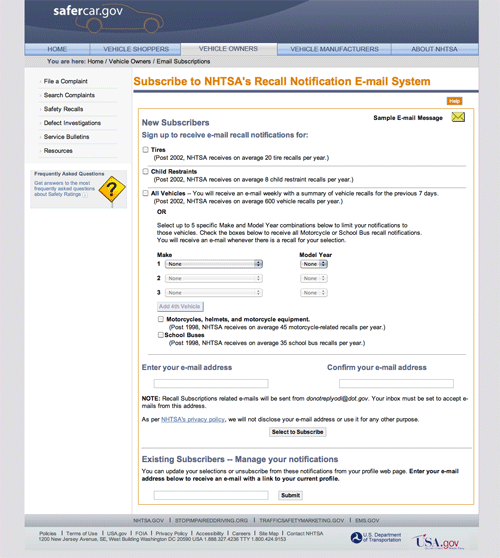 NHTSA Website Recall Email Subscriptions