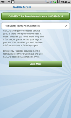Geico's app offers roadside assistance functions
