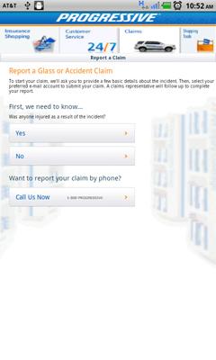 Progressive's app claim functions.