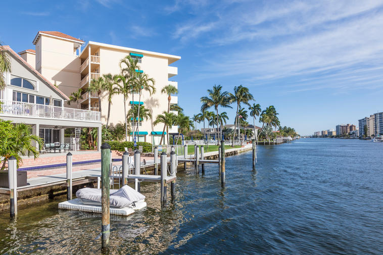 Waterfront buildings in Pompano Beach, Florida, United States