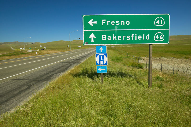 The intersection of California State Highways 46 and 41, where actor James Dean died in a car accident in the 1950s