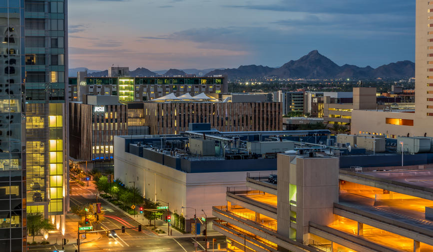 Phoenix Arizona USA - Phoenix evening city view with mountain in the background