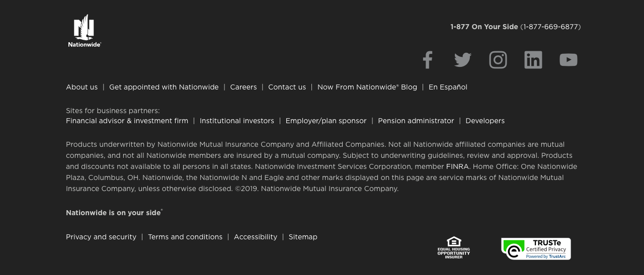 Nationwide website home page footer