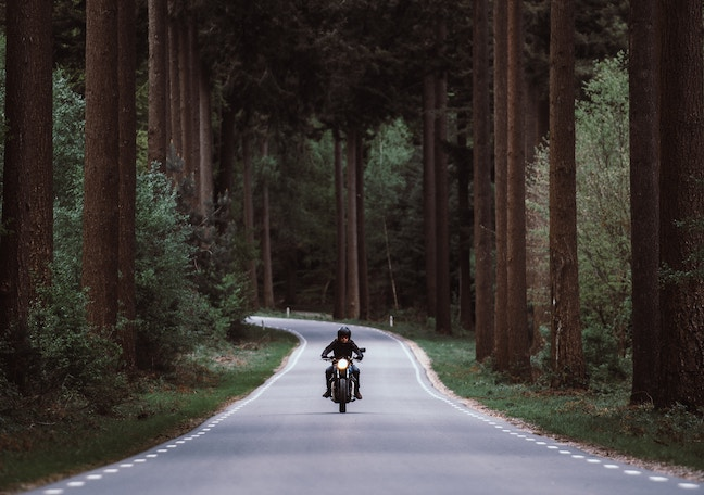 guy on motorcycle on open road through the woods -unsplash