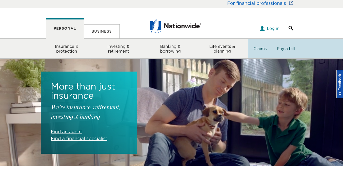 Nationwide website home page navigation menu
