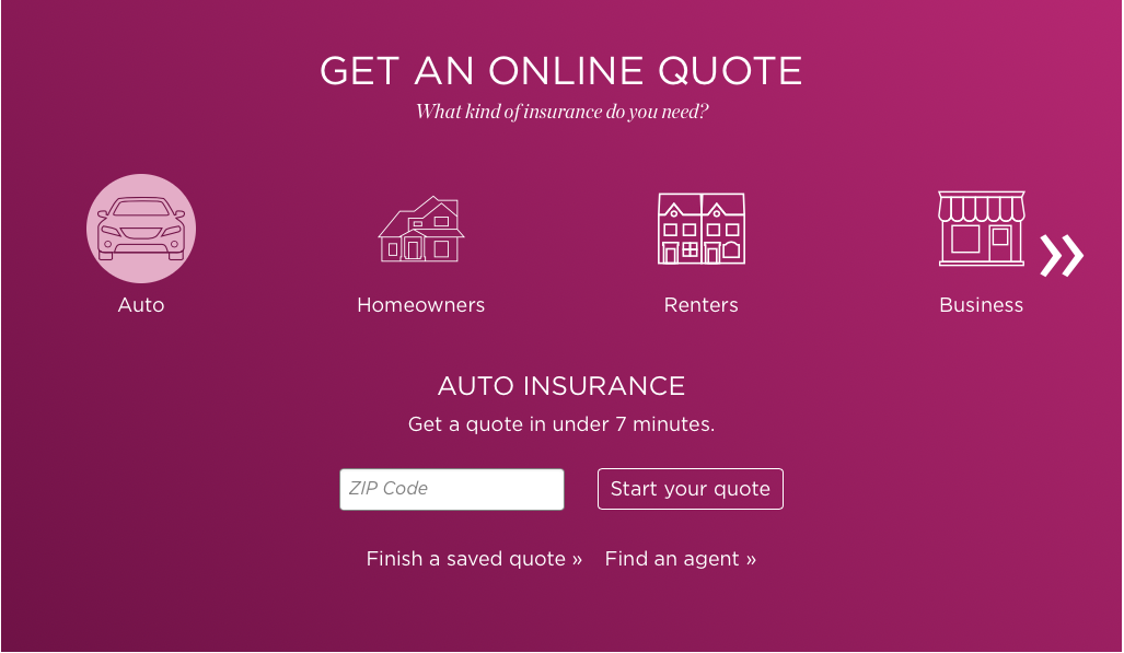 Nationwide website online quote screen