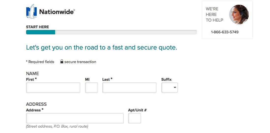 Nationwide website online quote start here screen