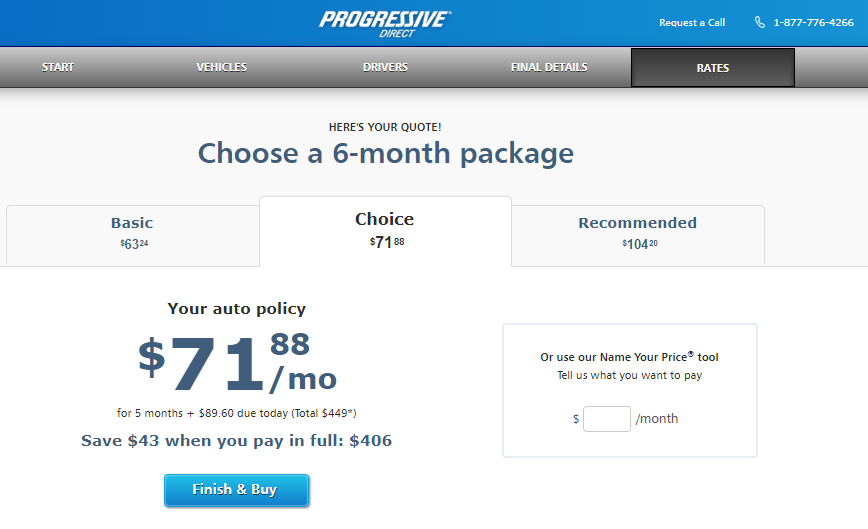 Progressive auto insurance quote options