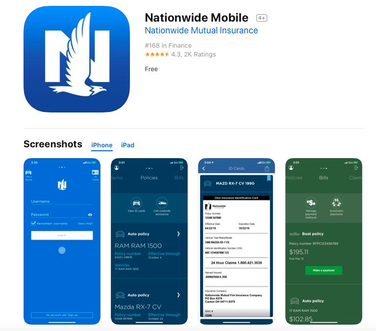 Nationwide Mobile app screenshots