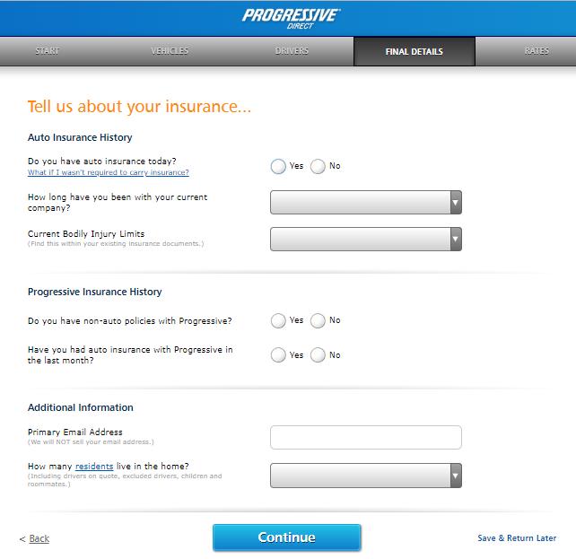 Progressive auto insurance quote insurance history