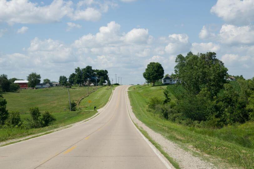 Iowa road up hill