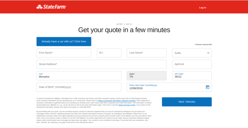 State Farm Get a Quote Personal Information