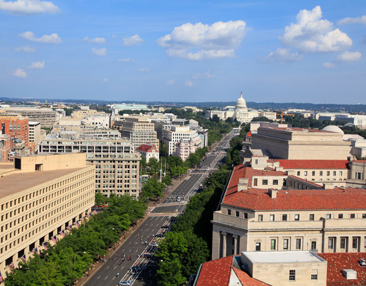 Washington DC, Pennsylvania Avenue, aerial view