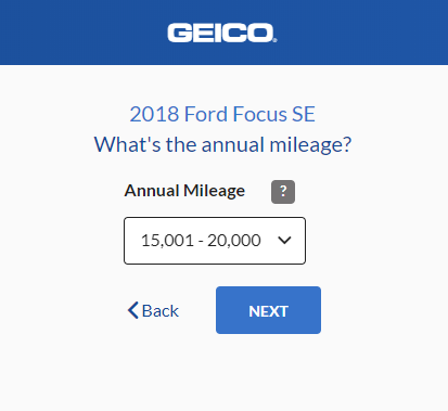 Geico Auto Insurance Quote - Annual Mileage