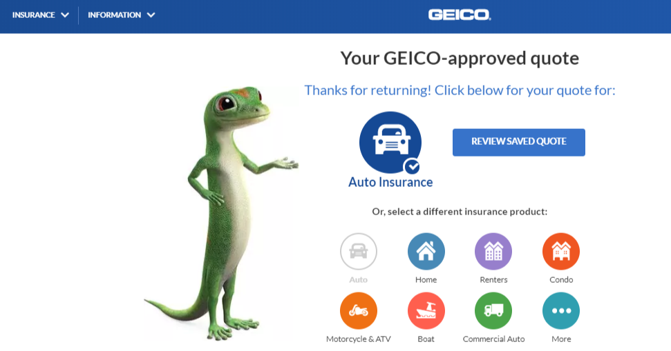 Geico Auto Insurance Quote - Home Page