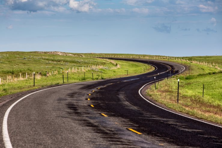 A winding road in western Nebraska, United States.