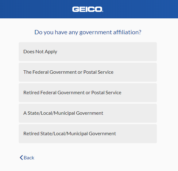 Geico Auto Insurance Quote - Government Affiliation