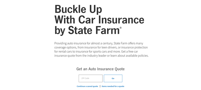 State Farm Auto Insurance Page Pulled Down