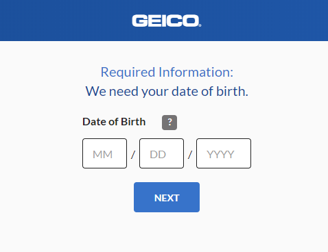 Geico Auto Insurance Quote - Date of Birth