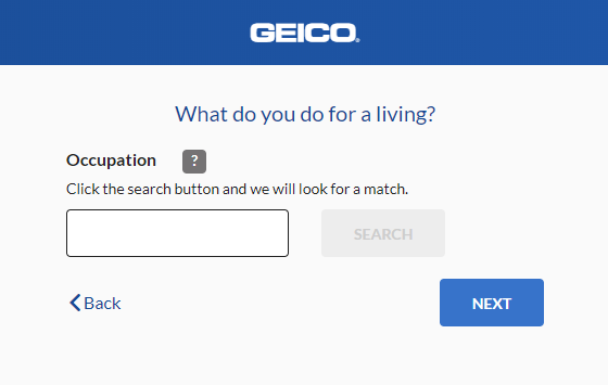 Geico Auto Insurance Quote - Occupation