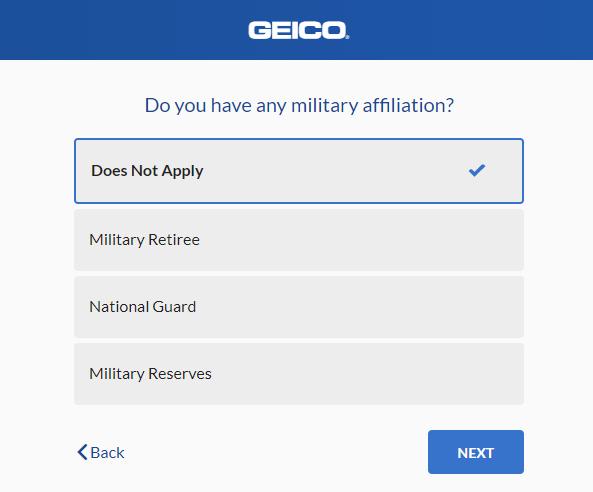 Geico Auto Insurance Quote - Military Status