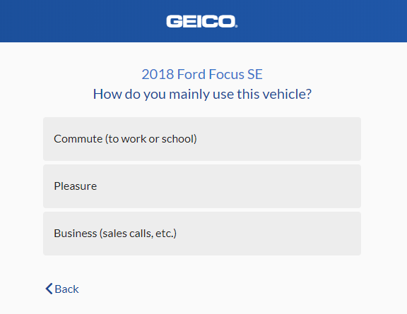 Geico Auto Insurance Quote - Vehicle Usage