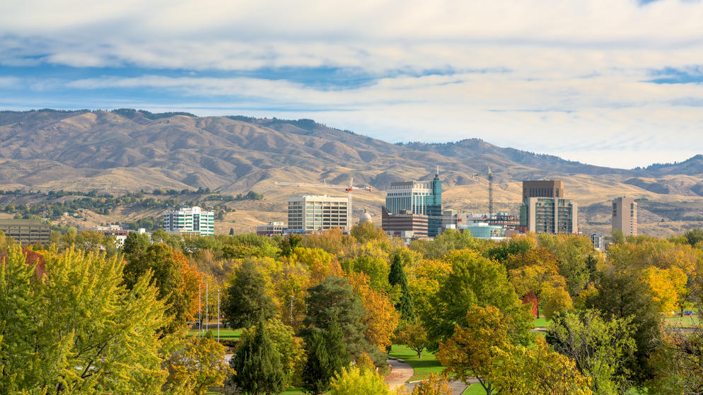 Autumn colors over the city of Boise Idaho