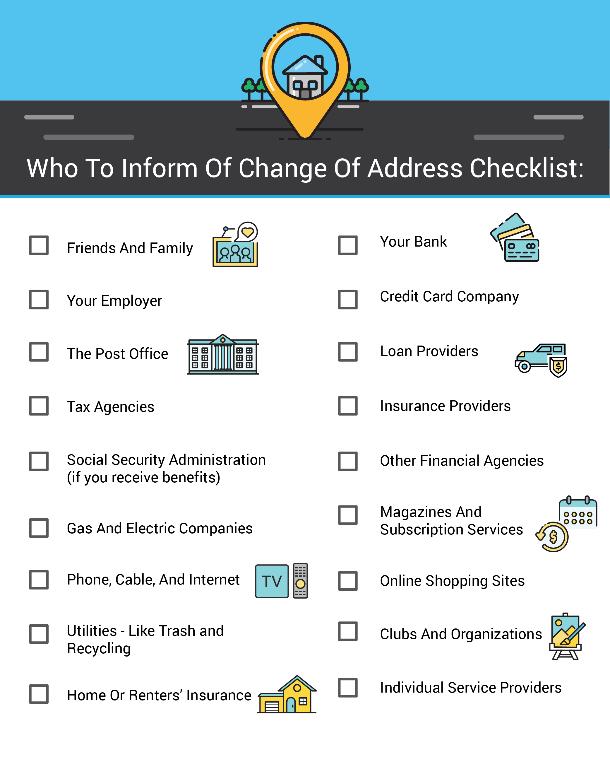 Who to inform of change of address checklist