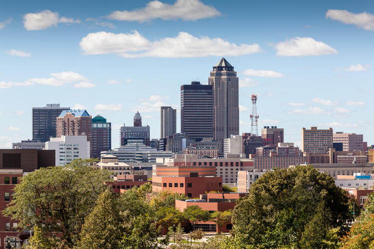 city and skyline in Des Moines, Iowa