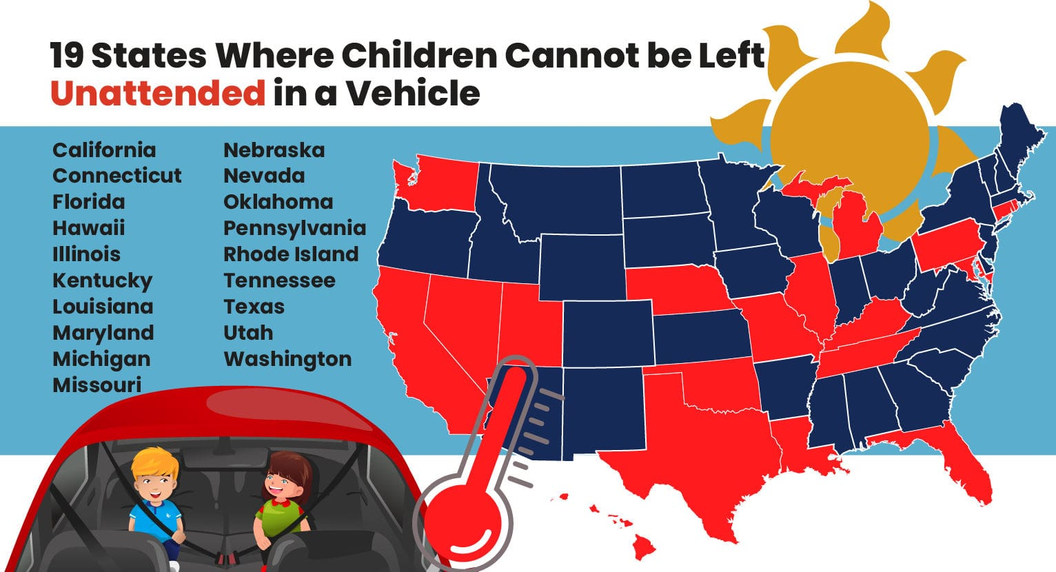 19 States Where Children Cannot be Left in Vehicles