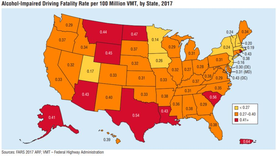 alcohol-impaired driving fatality rate by state