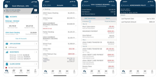 USAA Mobile app screenshots