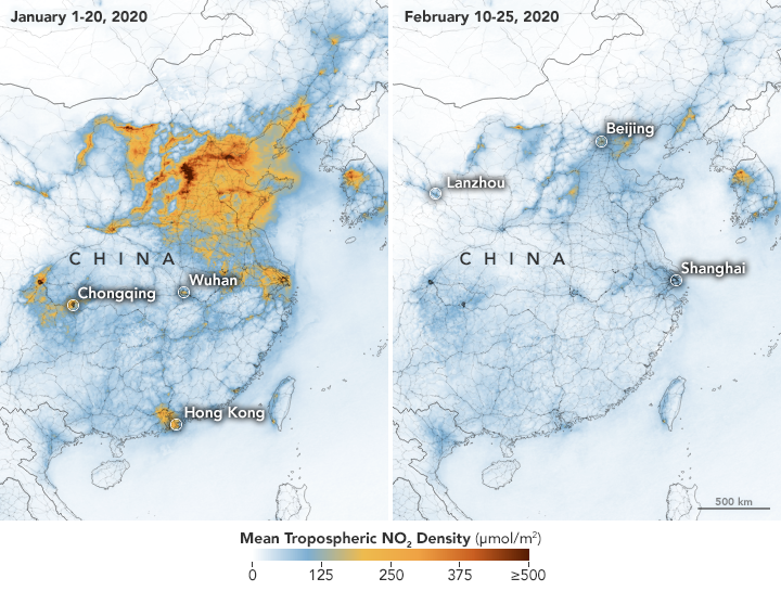 NASA photo about the pollution above China before and during the Coronavirus Pandemic